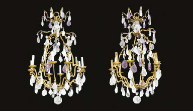 A PAIR OF GILT WROUGHT IRON, R