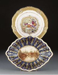 A Derby plate and other items