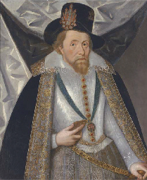 Portrait of King James I, half