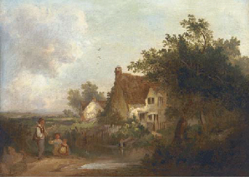 Figures by a cottage