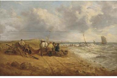Fishermen on a windy beach