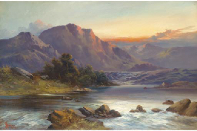 A Highland landscape at sunset