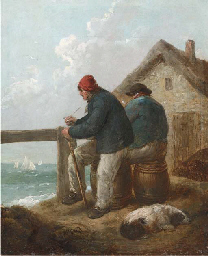 Figures on the bank of a river