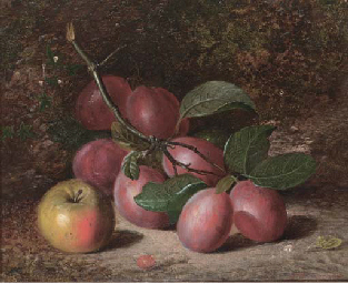 Plums and an apple, on a mossy