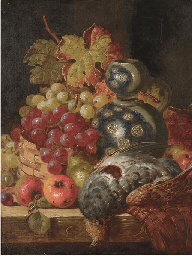 Fruit and game on a ledge; and