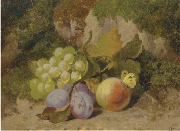 Grapes, plums, a peach and a b
