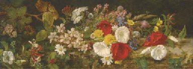 A spray of wildflowers on a ba