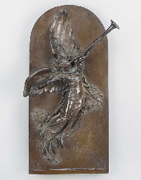 A bronze relief plaque of 'Vic