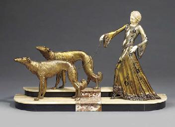 An art nouveau spelter group