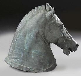 A bronze model of a horse's he