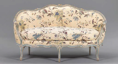 A LOUIS XV GREY AND BLUE-PAINT