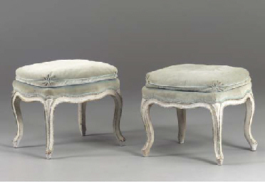 A PAIR OF LOUIS XV GREY AND BL