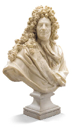 A MARBLE BUST OF EDOUARD COLBE
