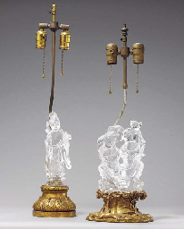 TWO CHINESE ROCK CRYSTAL LAMPS