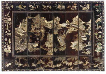 A CHINESE BLACK AND POLYCHROME