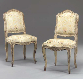 A PAIR OF FRENCH GREY AND GREE