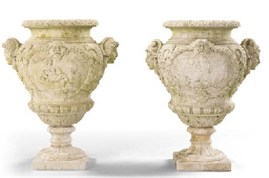 A PAIR OF FRENCH MARBLE URNS