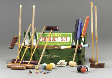 AN ENGLISH CROQUET SET BY JAQU