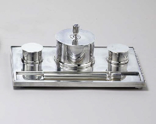 A DANISH SILVER INKSTAND AND P