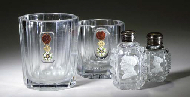 TWO BACCARAT TUMBLERS ENAMELED
