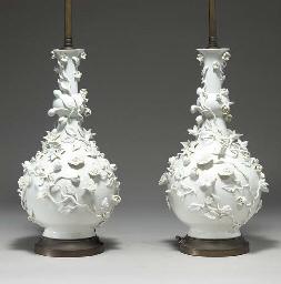 A PAIR OF WHITE FLOWER-ENCRUST