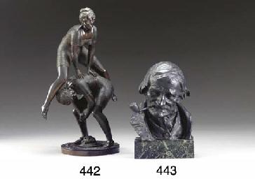 A German bronze bust of a man