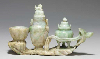 A CHINESE JADEITE VASE GROUP