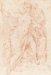 A nymph seated in a nitch with