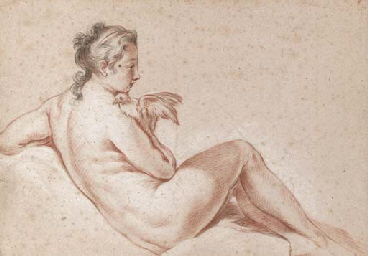 A reclining female nude holdin