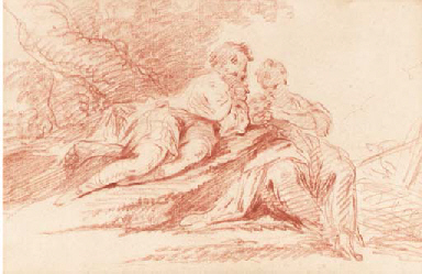 An amorous couple seated under