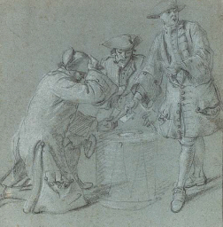 Three soldiers playing cards