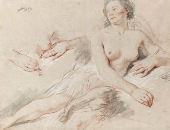 A reclining female nude with s