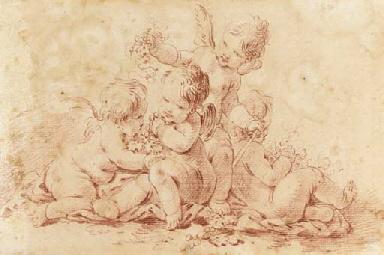 Four putti playing with garlan