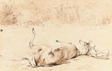 A wounded stag in the woods, a