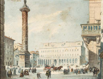View of Piazza Colonna, Rome