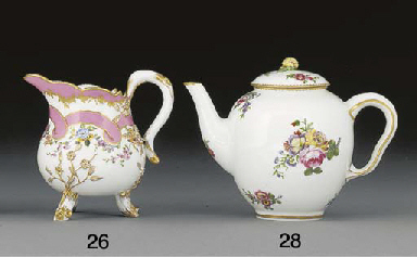 A Sevres oviform teapot and co