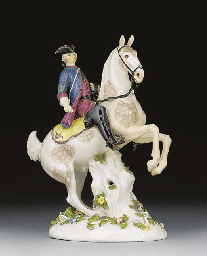 A Meissen equestrian group wit