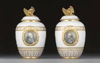 A pair of Berlin oviform vases