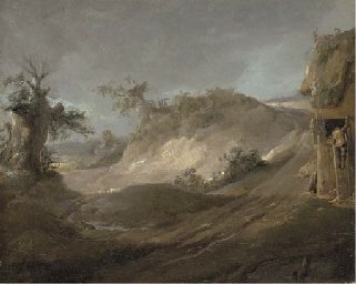 Landscape with a figure climbi