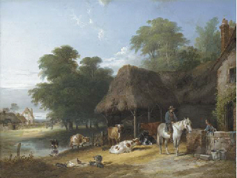Figures and livestock by a riv