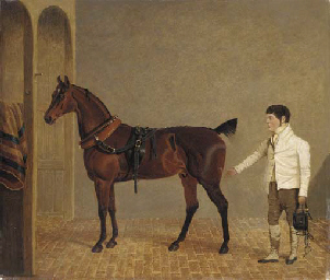 A carriage horse and groom in