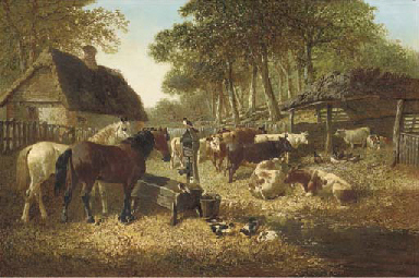 Horses and cattle in a farmyar