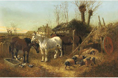 Horses and pigs in a farmyard