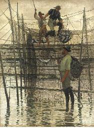 Emptying a salmon net