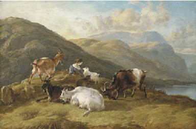 Highland landscape with a girl