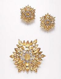 A SET OF CITRINE AND DIAMOND J