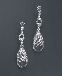 A PAIR OF DIAMOND AND ROCK CRY