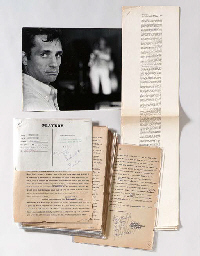 KEROUAC, Jack (1922-1969). Typed manuscript with about 205 autograph additions and revisions, comprising a section of Visions of Cody; this excerpt originally titled by Kerouac Earlier History of Dean Moriarty, published as Before the Road, in Playboy, December 1959, Kerouac's short-lived pen name (Jean-Louis)  crossed out at the bottom of p.33;  Kerouac has substituted the more familiar Jack Kerouac, and added the address and telephone number of his literary agent, Lord (Sterling Lord); two original Playboy editorial forms present. 33 pages on 33 leaves, double-spaced on foolscap paper; the paper brittle, a few pages with small marginal chips, light browning.