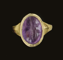 A GREEK AMETHYST RING STONE
