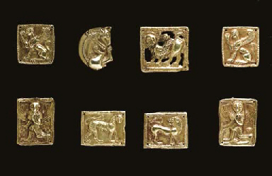 EIGHT SCYTHIAN GOLD FITTINGS